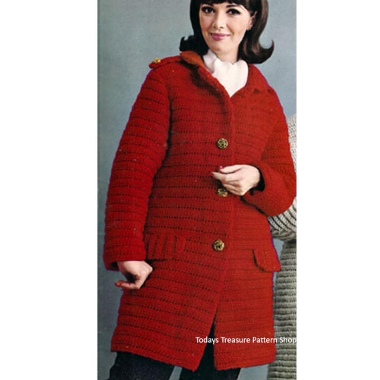 Crocheted Coachman Coat Pattern, Vintage 1950s