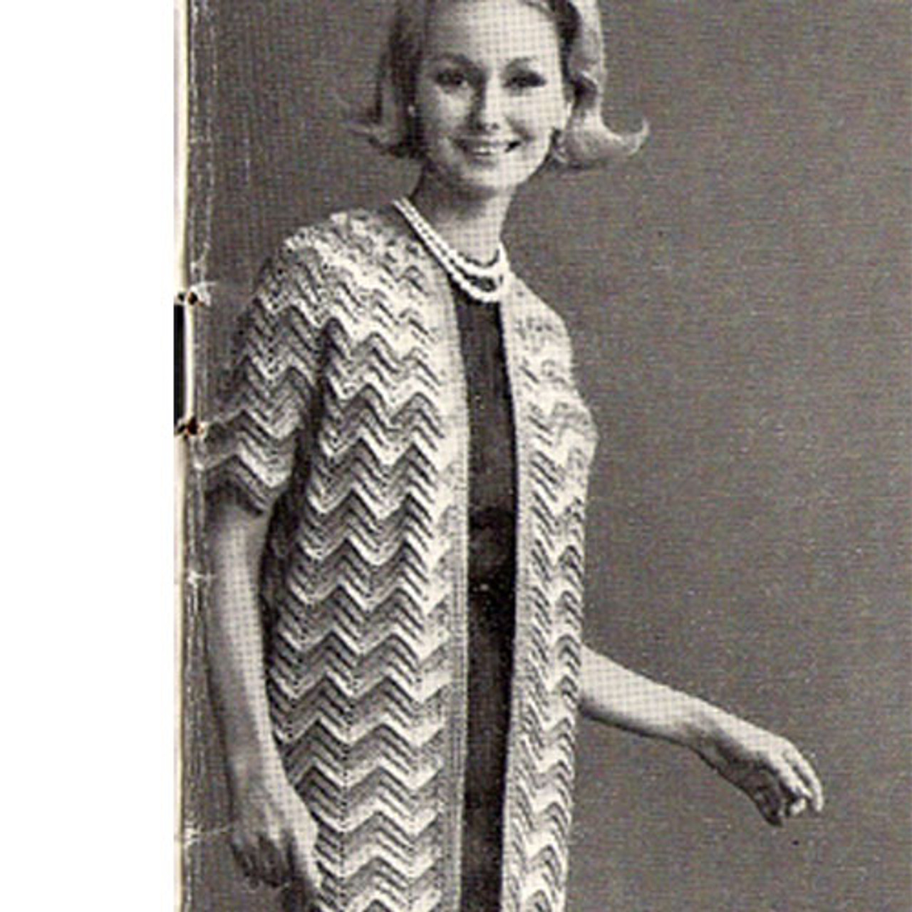 Long Ripple Crochet Coat Pattern, Vintage 1960s