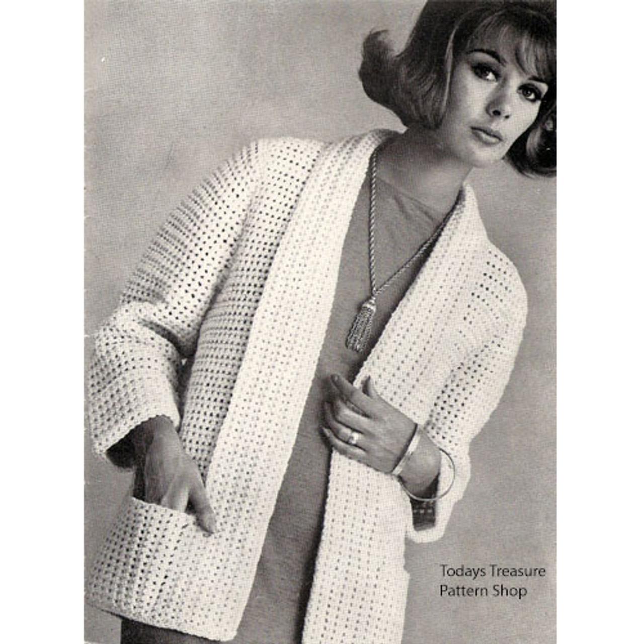 Plus Size Crocheted Cardigan Pattern, Pockets & Open Front