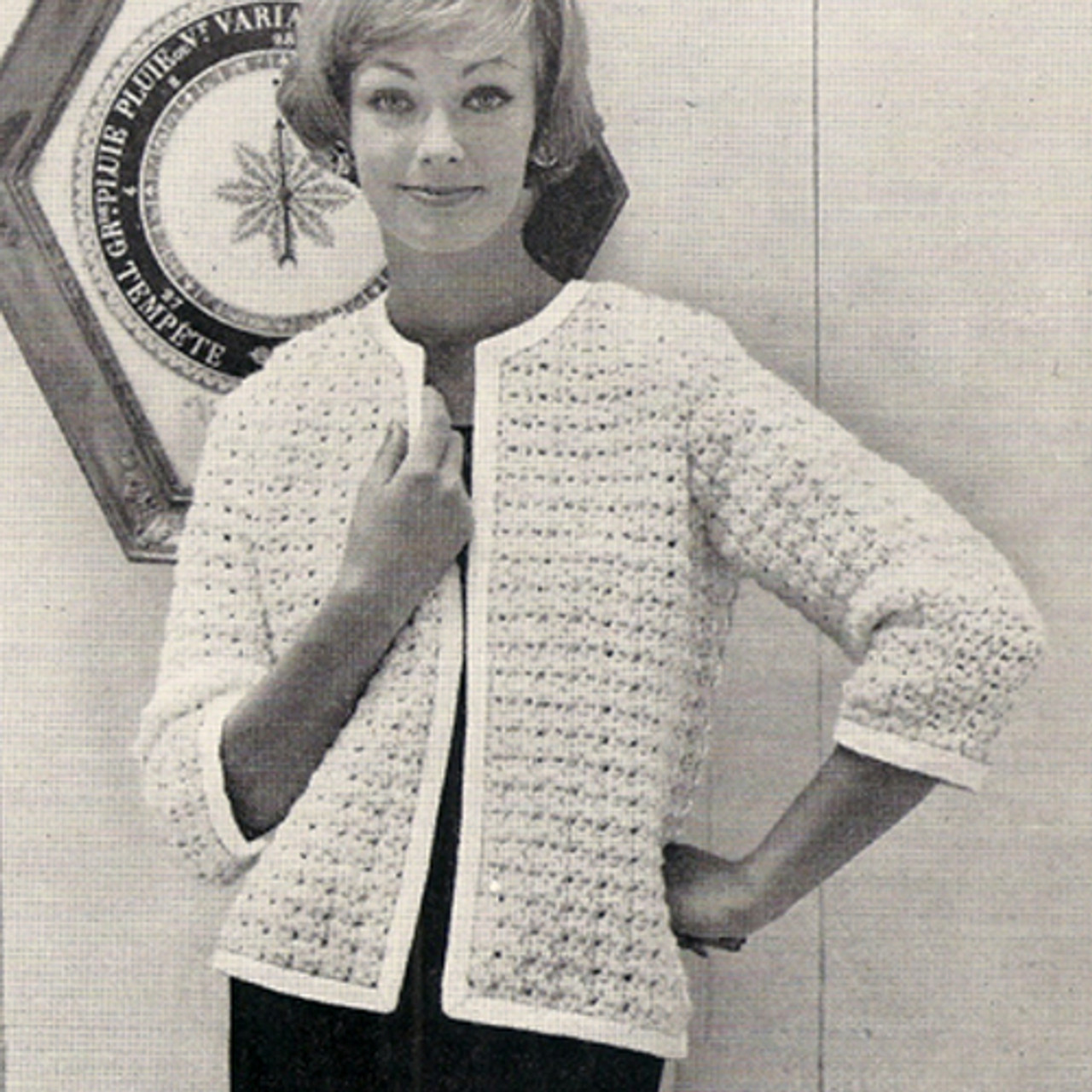 Vintage Crocheted Cardigan Pattern with Open Front and Three Quarter Sleeves