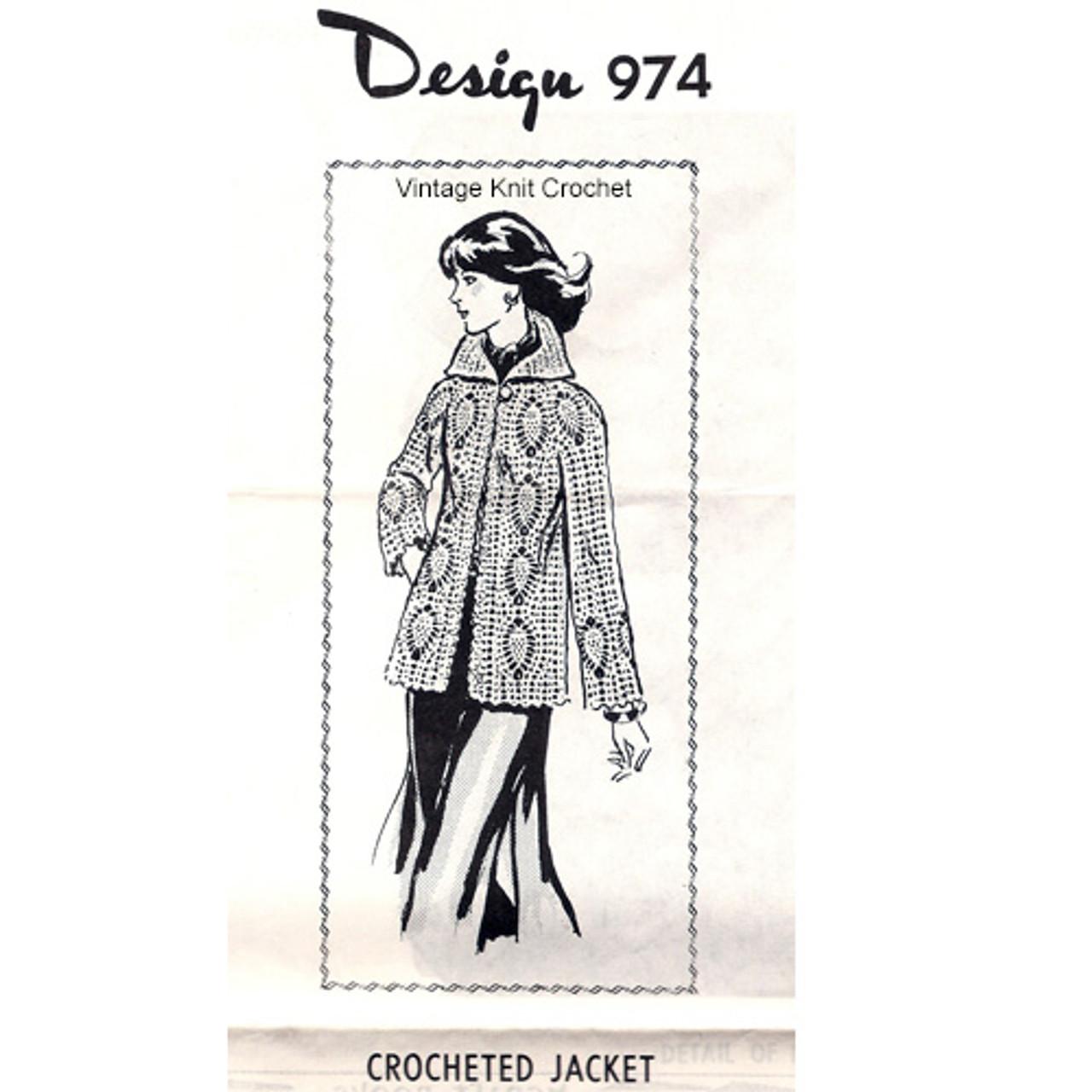 Womans Pineapple Crochet Jacket Pattern Design 974