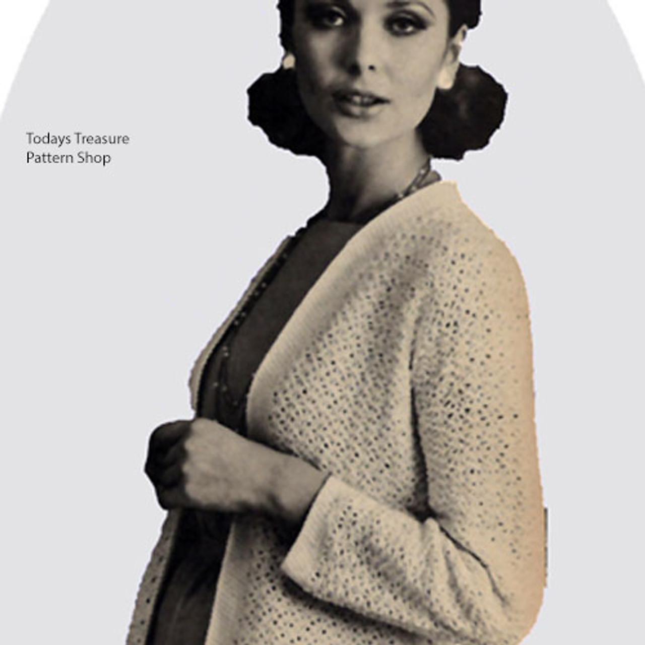 Open Front Crochet Cardigan Pattern, vintage 1950s