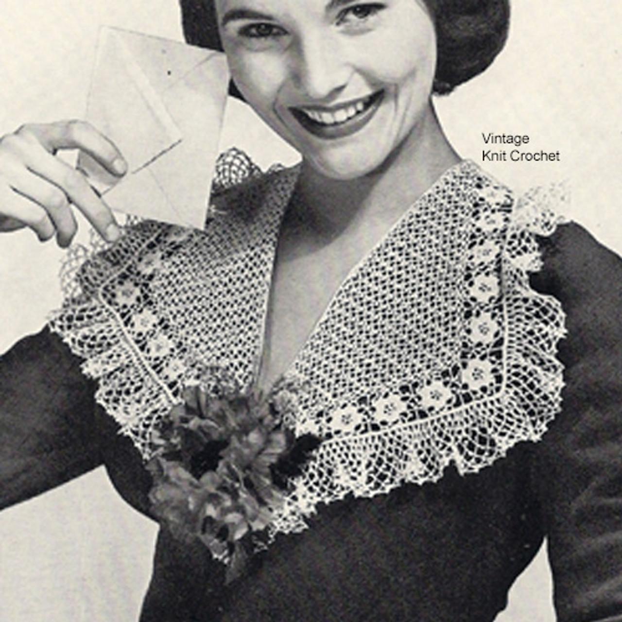Large Crochet Ruffled Collar Pattern, Vintage 1940s