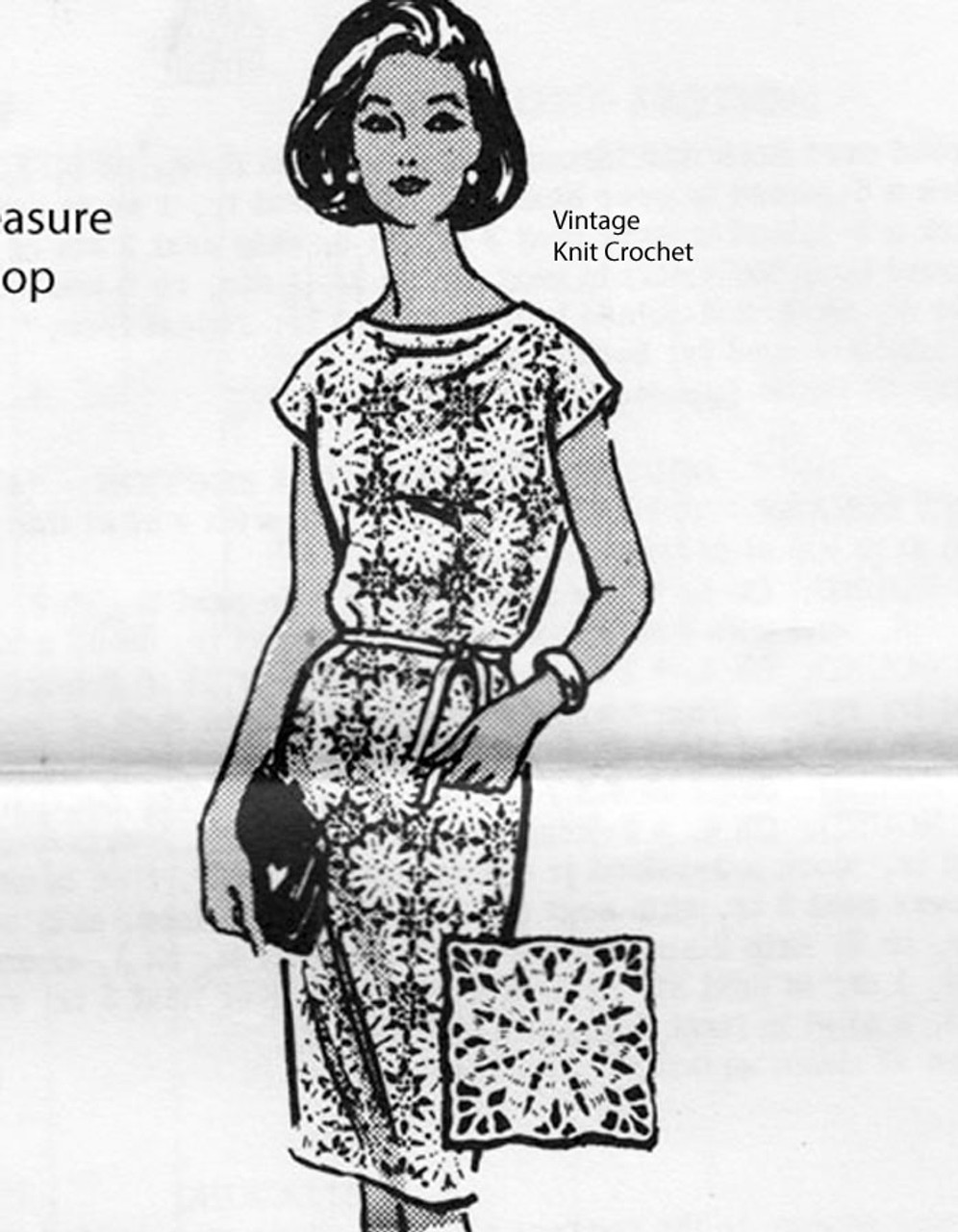 Flower Medallion Crochet Dress Pattern, Alice Brooks 7008