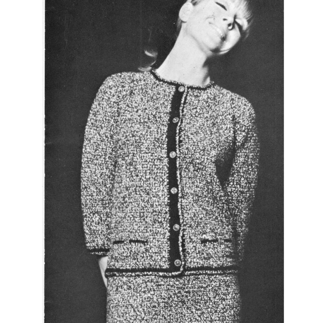 Vintage Crochet Two Piece Suit Pattern with Contrast Trim