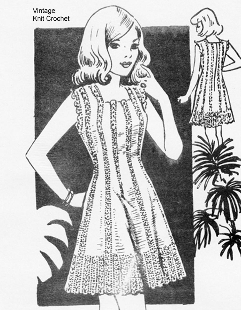 Vintage Crochet mini dress pattern, Mail Order 757