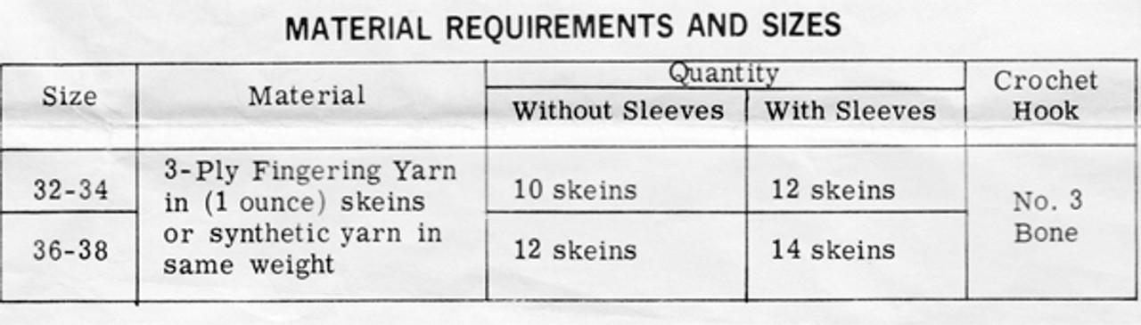 Crochet Requirements for Design 706 Dress