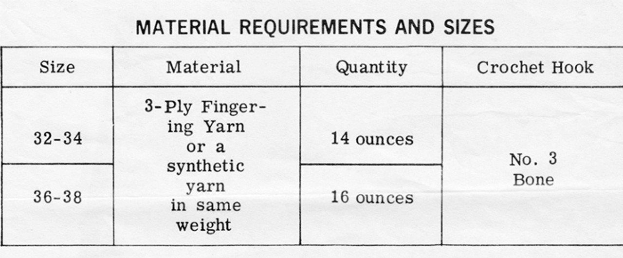 Material Requirements for Crochet Dress Pattern