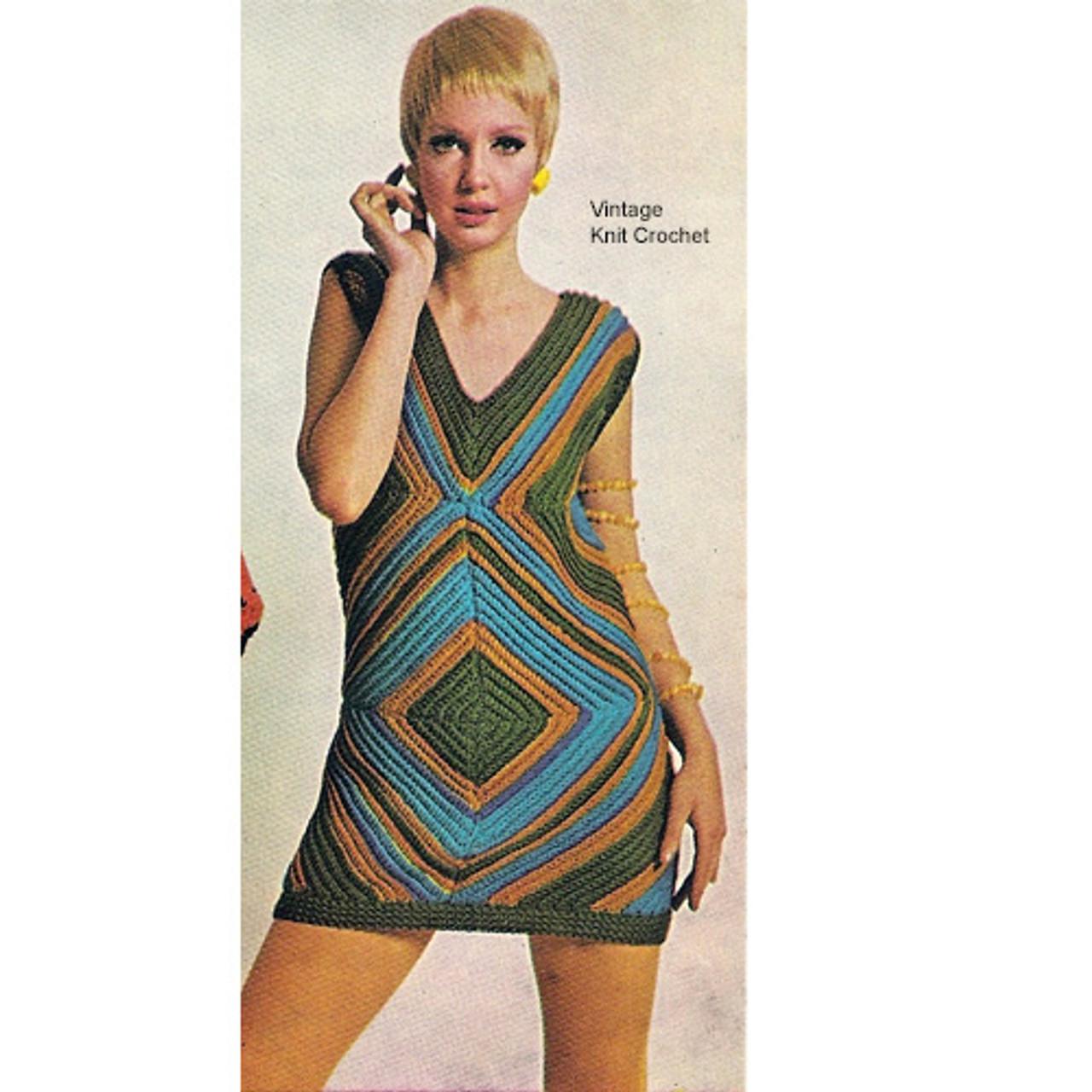 Crochet Mini Dress Pattern, Geometric Motif
