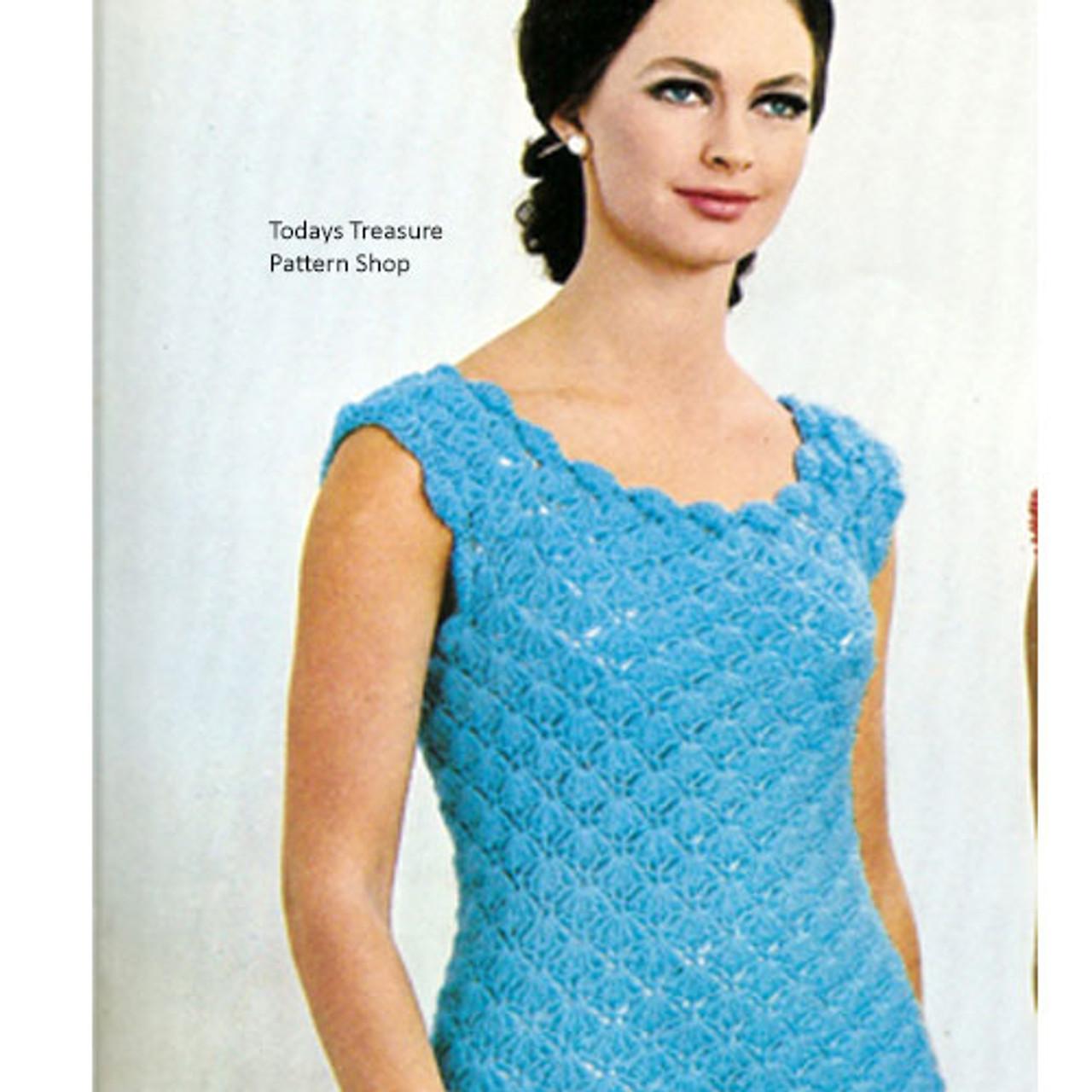 Vintage Crochet Dress in Shell Stitch