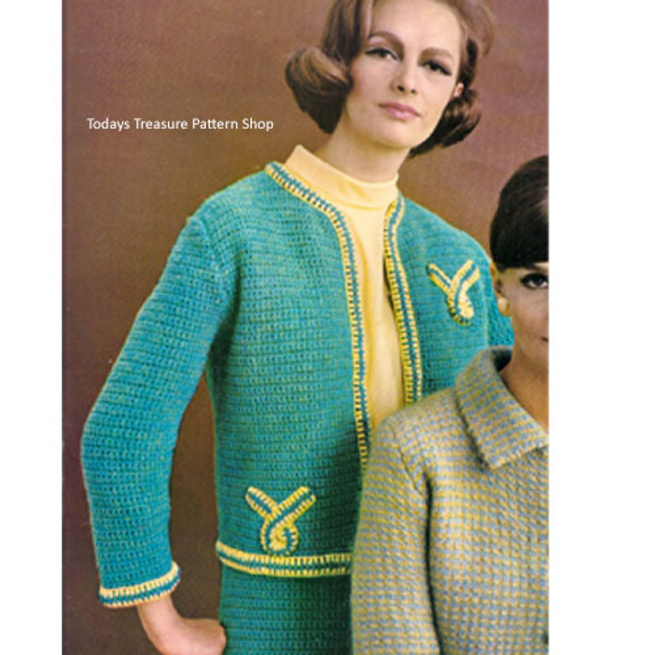 Crocheted Jacket Pattern with Open Front