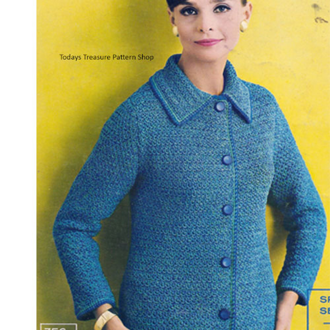 Crochet Jacket pattern with notched collar