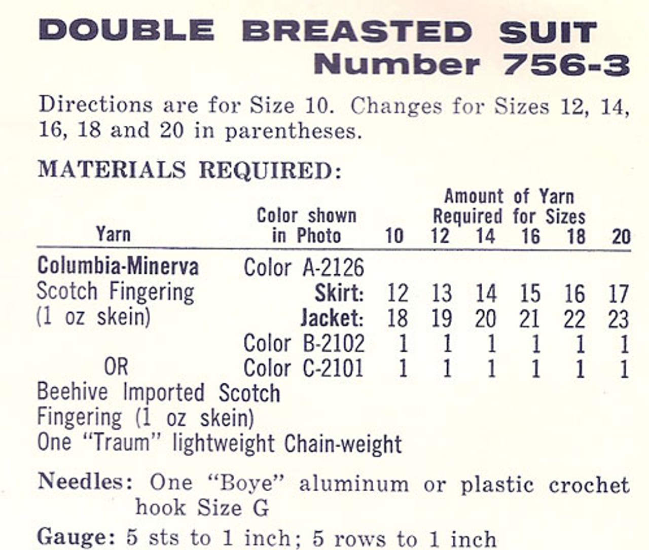 Material Requirements for Crochet Suit Pattern