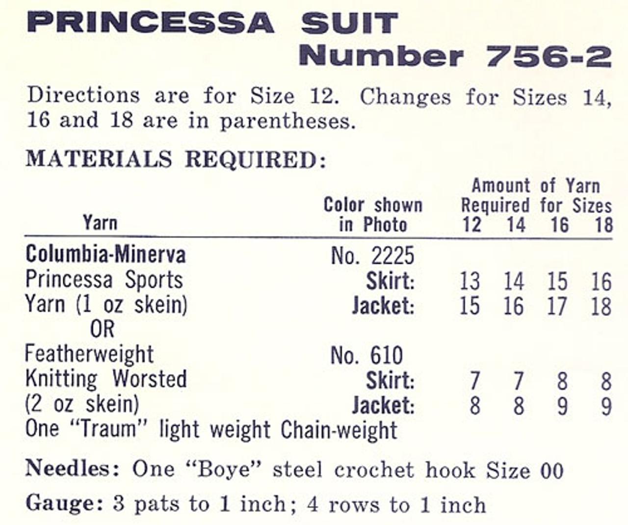 Princess Suit Crochet Material Requirements