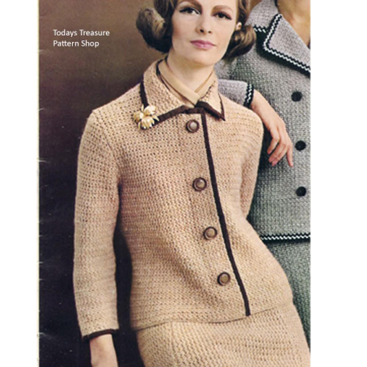 Vintage Crochet Jacket Pattern, Notched Collar