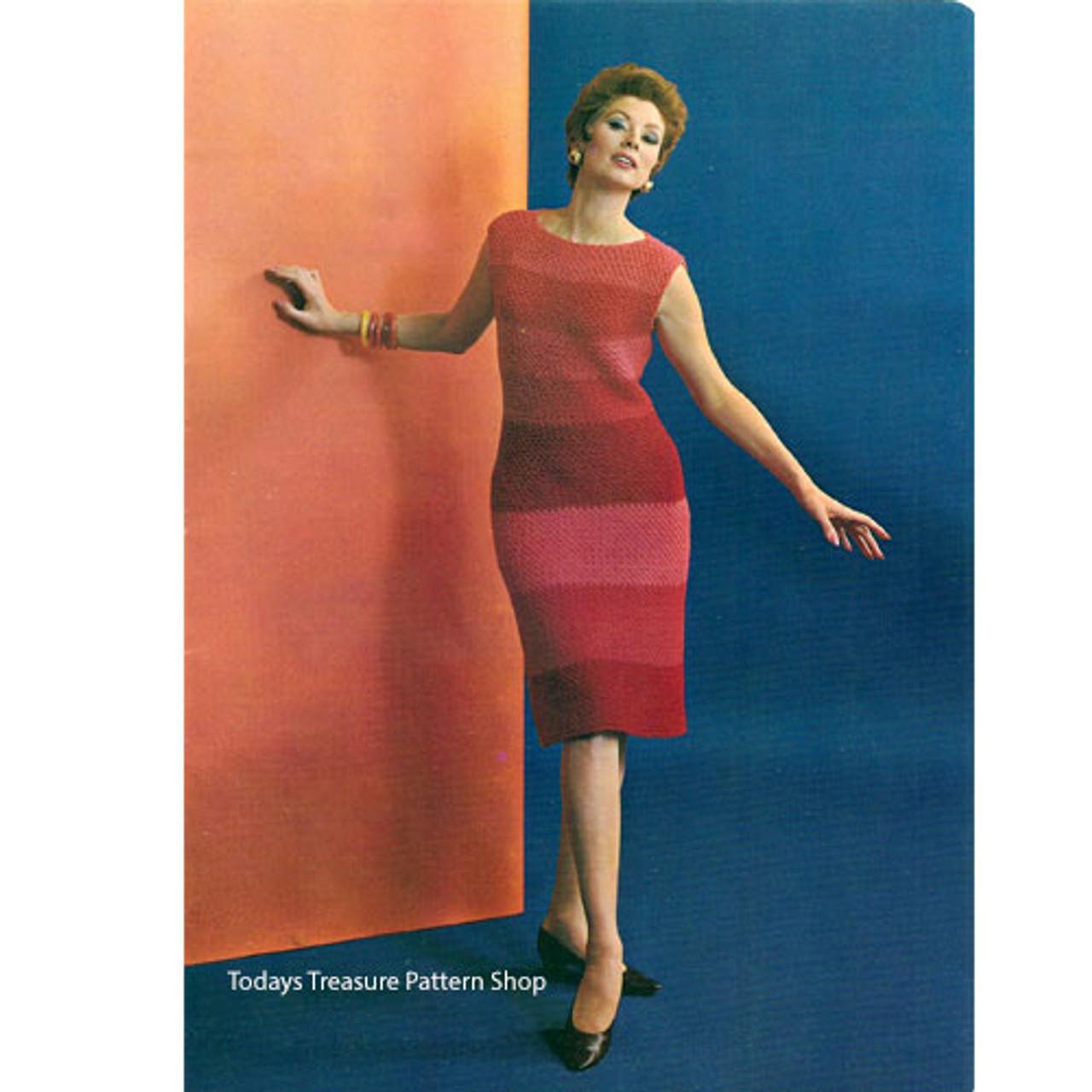 Straight Sleeveless Crochet Striped Dress Pattern