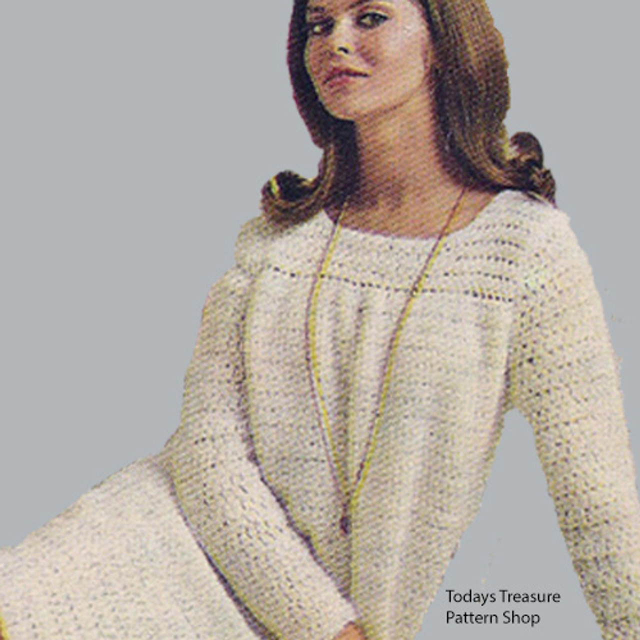 Vintage Yoked Crochet Dress Pattern with Long Sleeves