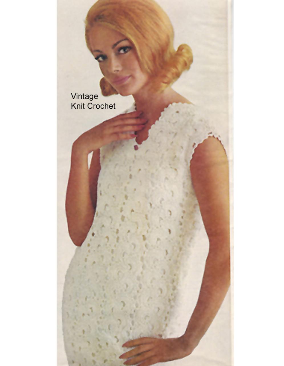 Crochet Dress Pattern, Sleeveless Shift in Lace Fan Stitch