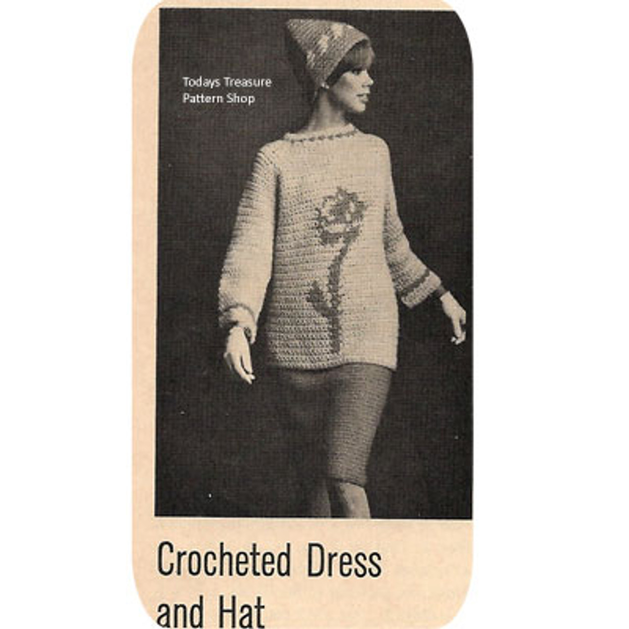 Vintage Crochet Tunic Pattern with Flower Embroidery