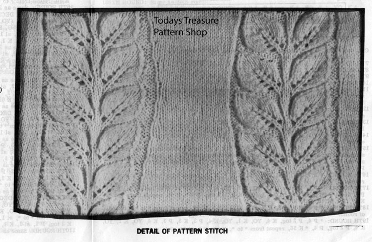 Raised Leaf Knitted Dress Illustration