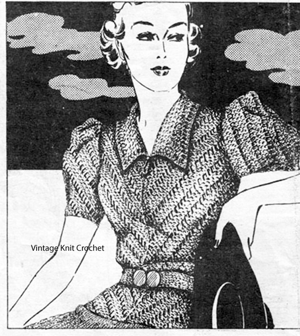 Vintage Fitted Blouse Knitting Pattern, Mail Order 1568
