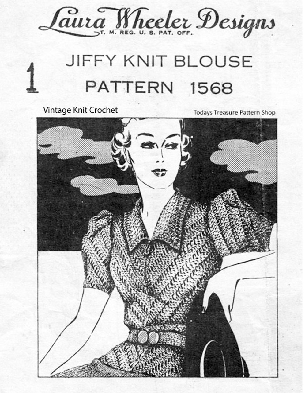 Vintage Knitted Blouse Pattern, Short Sleeve, Laura Wheeler 1568