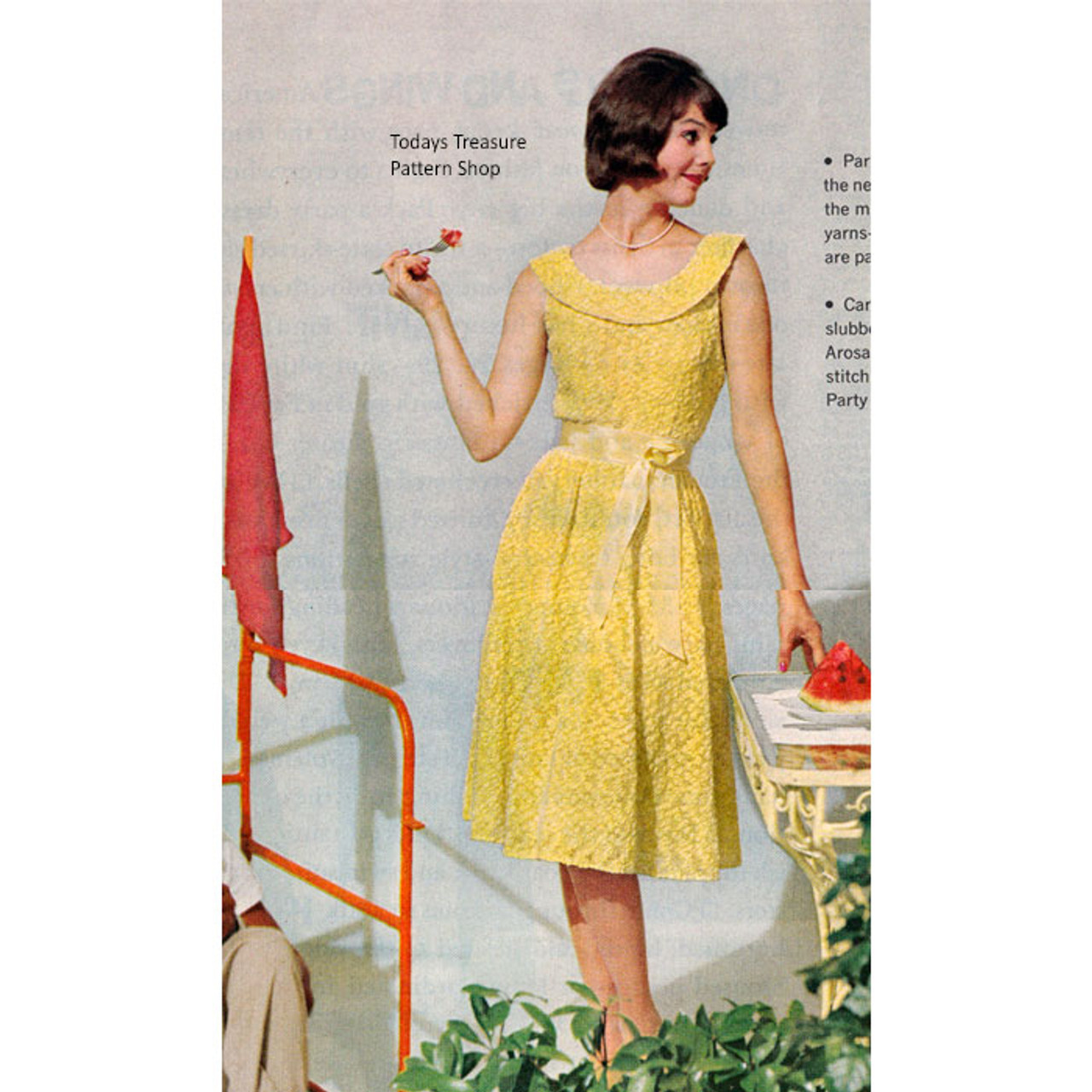 Vintage party Dress Knitting Pattern, Low Neckline