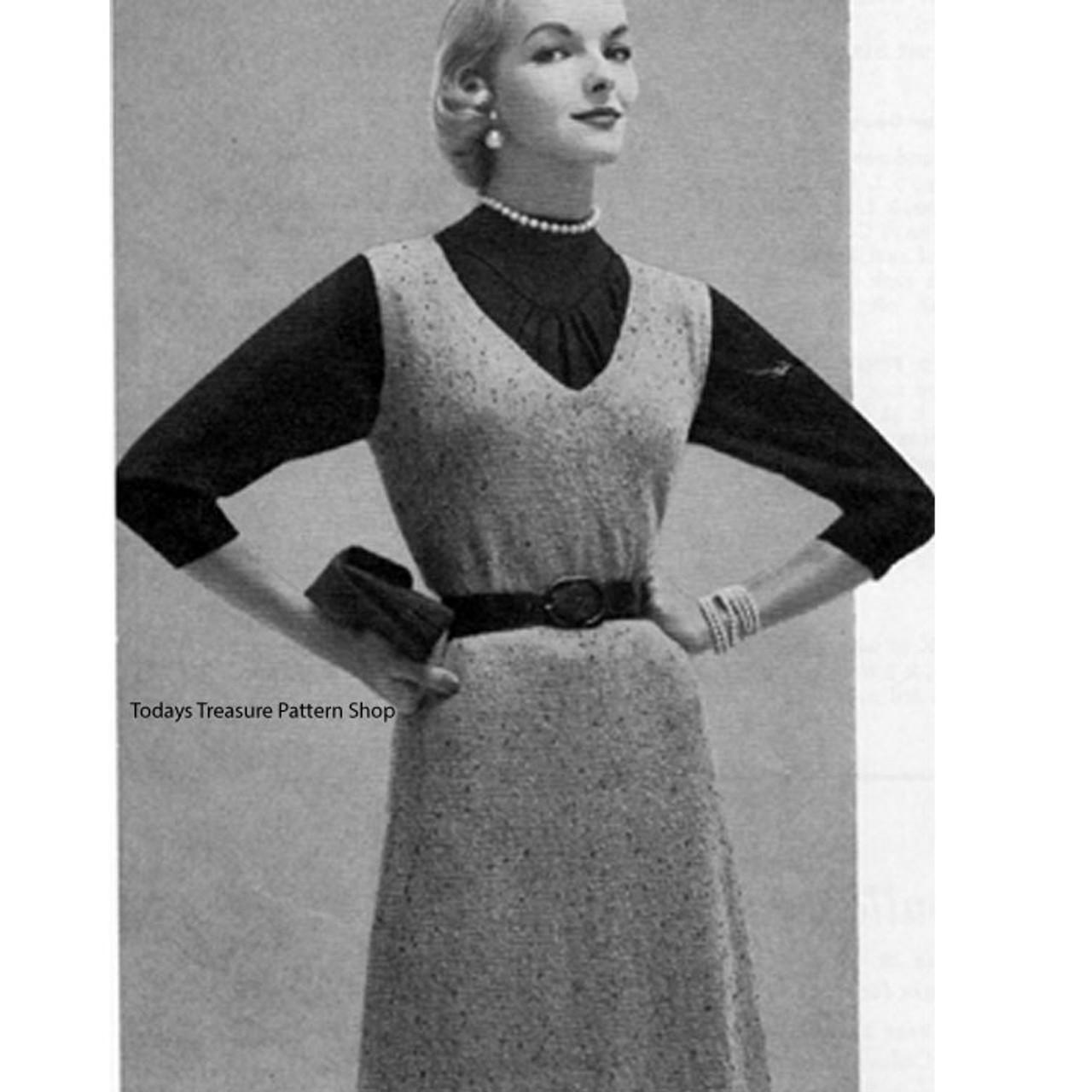 Vintage 1950s Knitted Jumper Pattern with V-Neck
