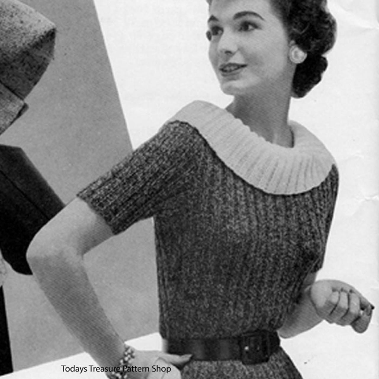 Short Sleeve Knitted Rib Dress Pattern