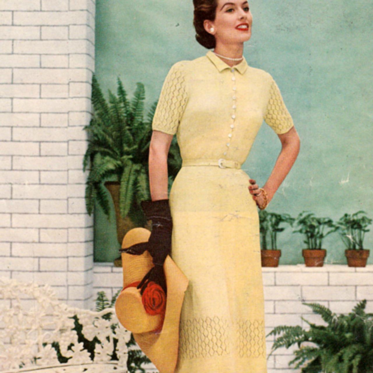 Vintage 1950s dress knitting pattern from Bernat