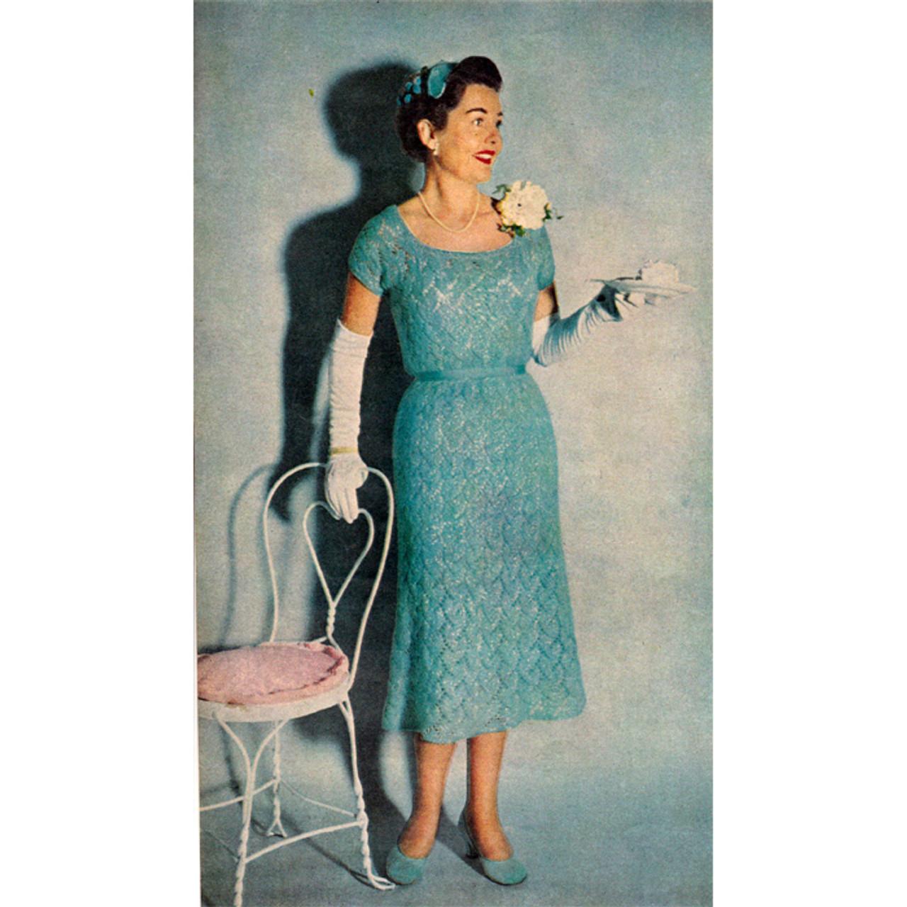 Womans Knitted Lace Stitch Dress Pattern