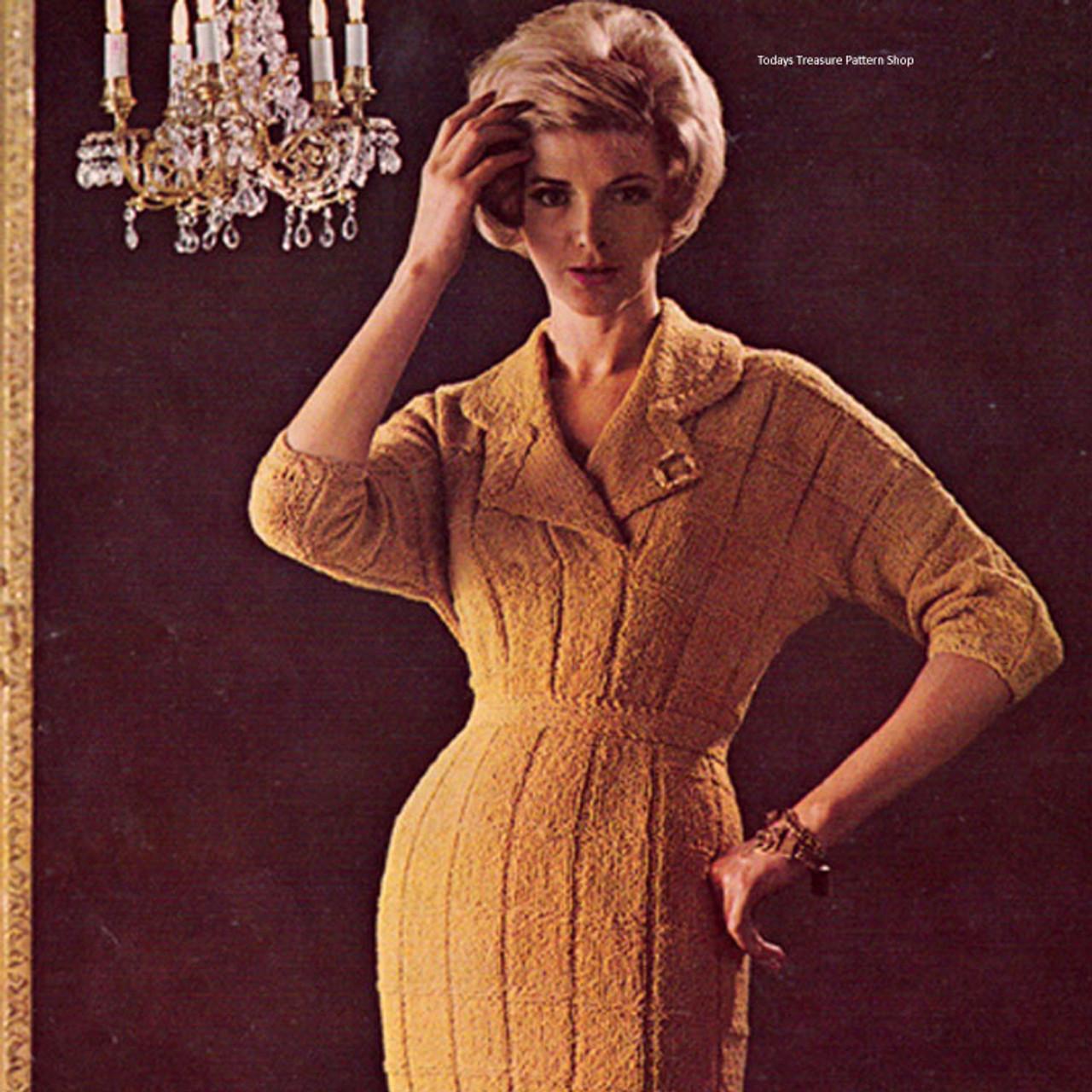 Classic V-Neck Ribbed Dress Knitting pattern