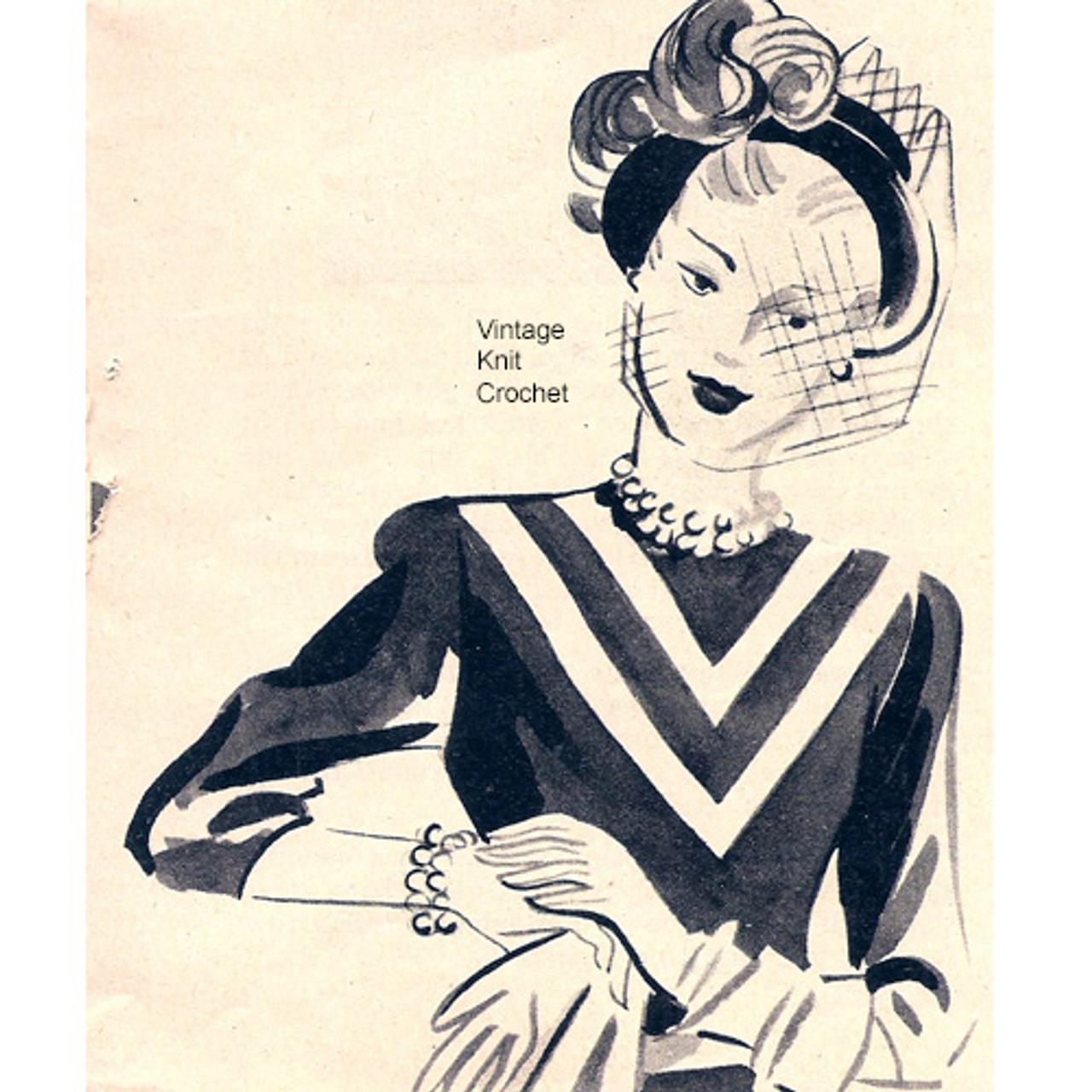 Vintage 1940s crochet dress Pattern Illlustration