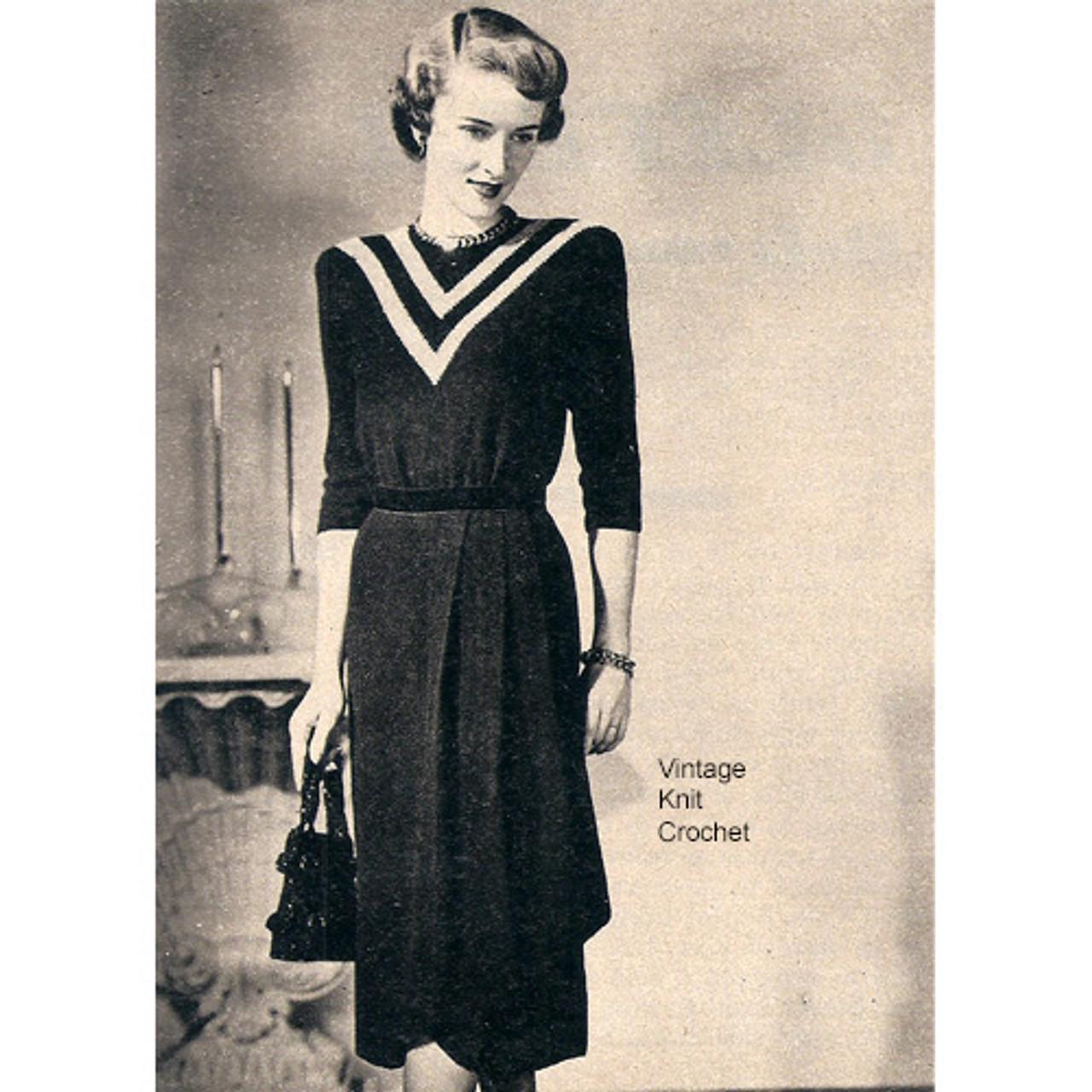 Knitted Dress Pattern, Draped Skirt, Vintage 1940s