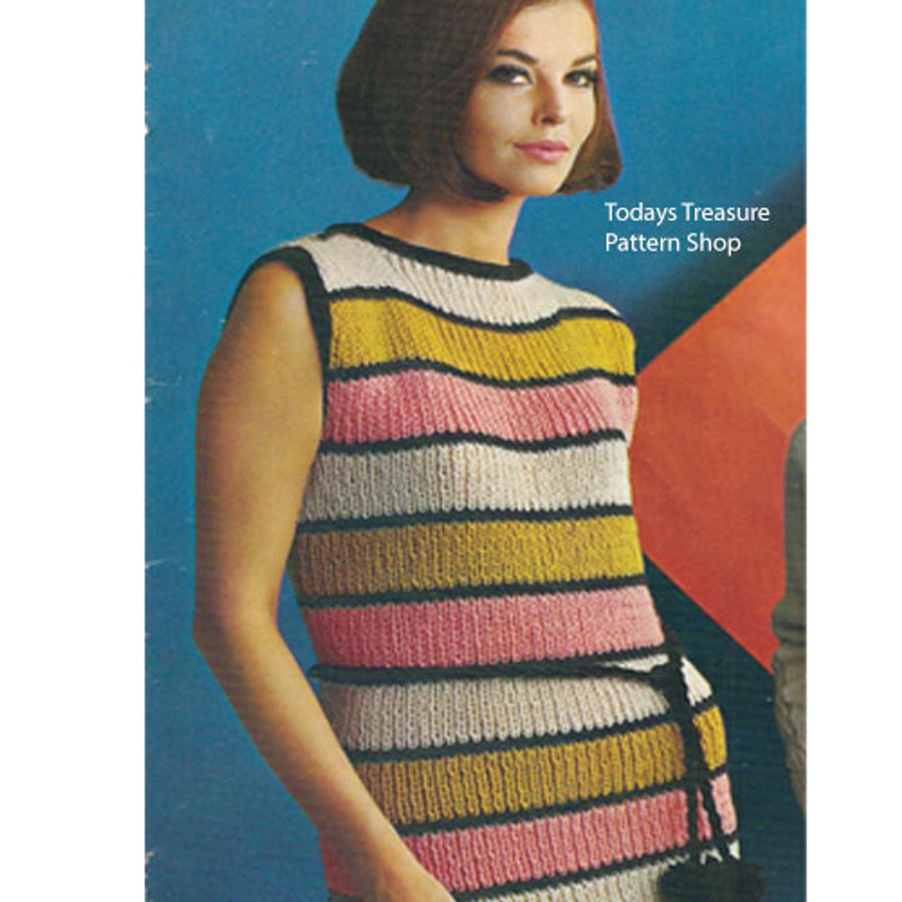 Vintage Striped Sheath Dress Knitting Pattern