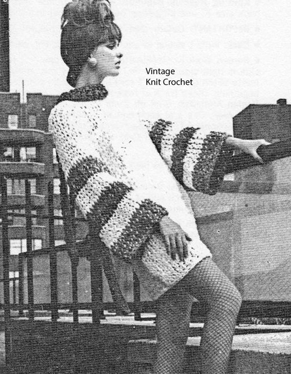 Mini Dress Knitting Pattern, Striped Sleeves