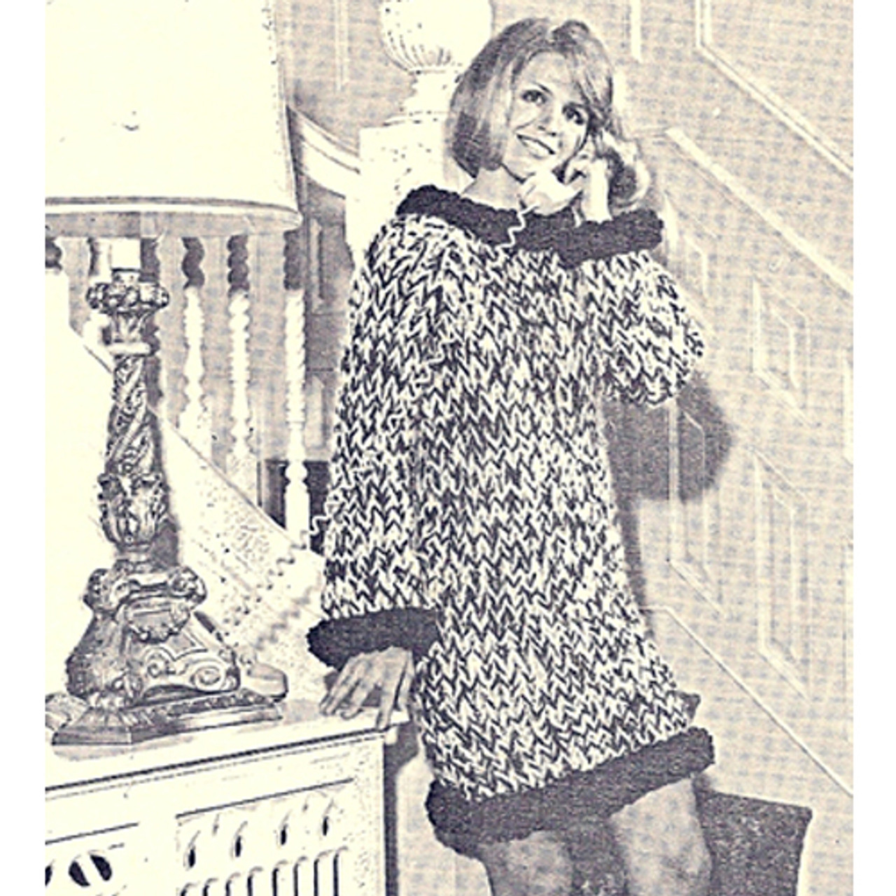 Vintage Bulky Knit Mini Dress Pattern with Contrast Trim