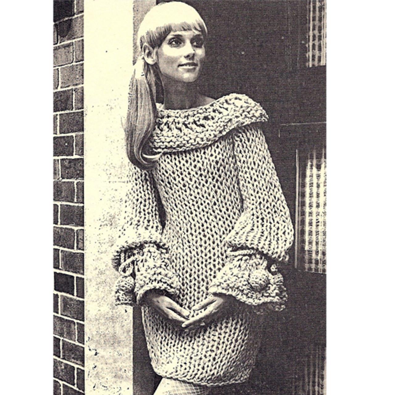 Vintage Cape Collared Mini Dress Pattern on Big Needles