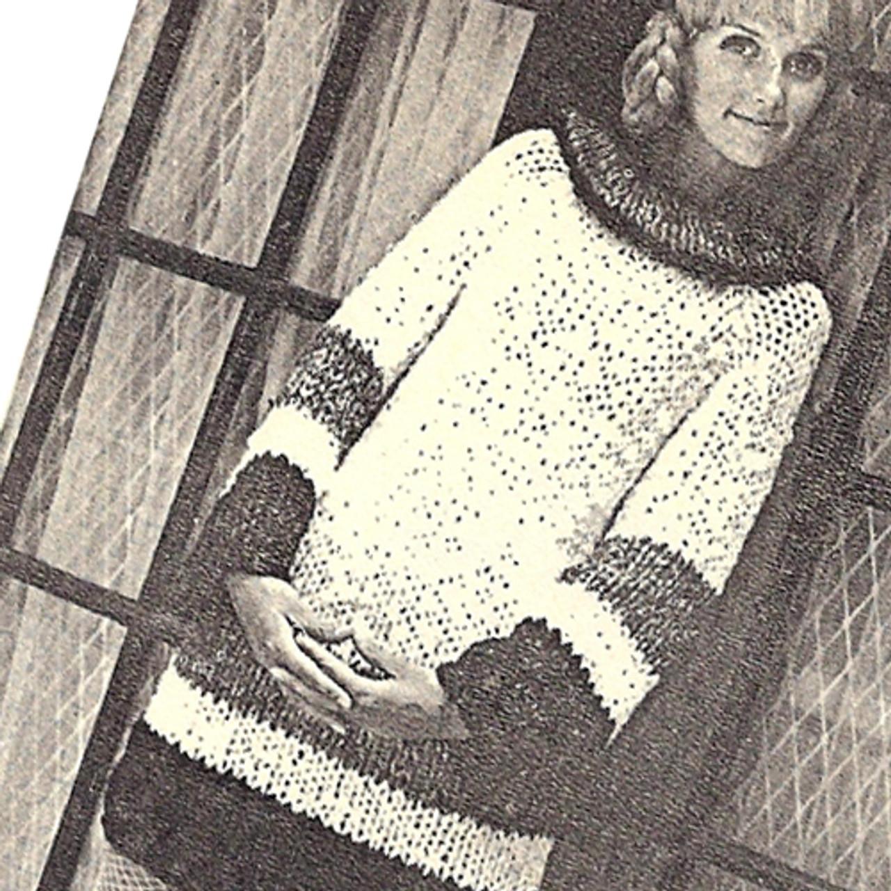 Vintage Knitted Striped Dress, Jumbo Jet Needles