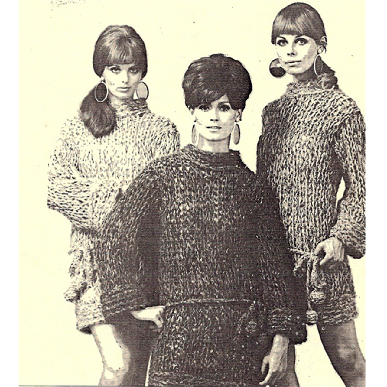 Long Sleeve Knitted Mini Dress Pattern, Big Needles