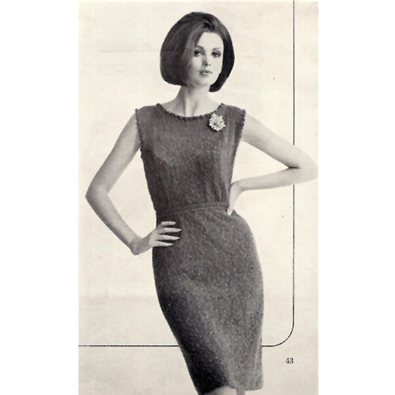 Sleeveless Sheath Knitting Pattern, Vintage 1960s