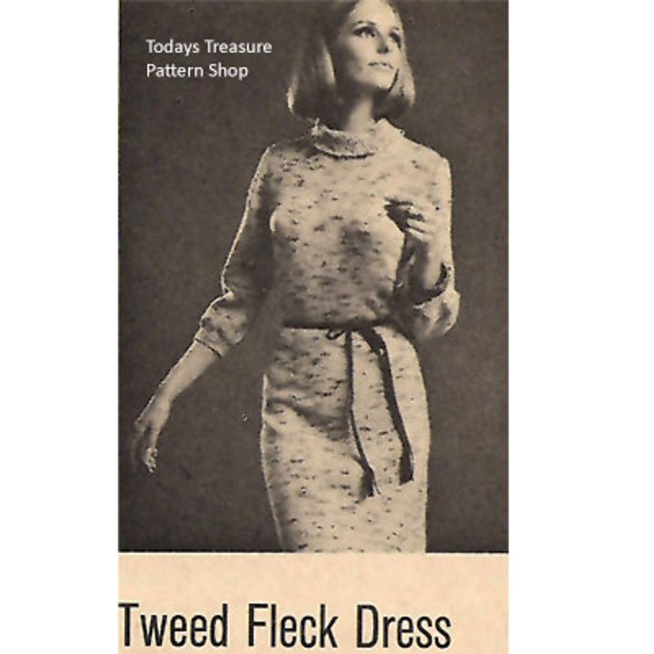 Tweed Fleck Knitted Dress Pattern, Vintage 1960s