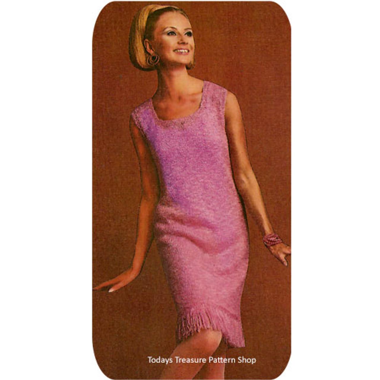 Fringed Dress Knitting Pattern, Vintage 1960s
