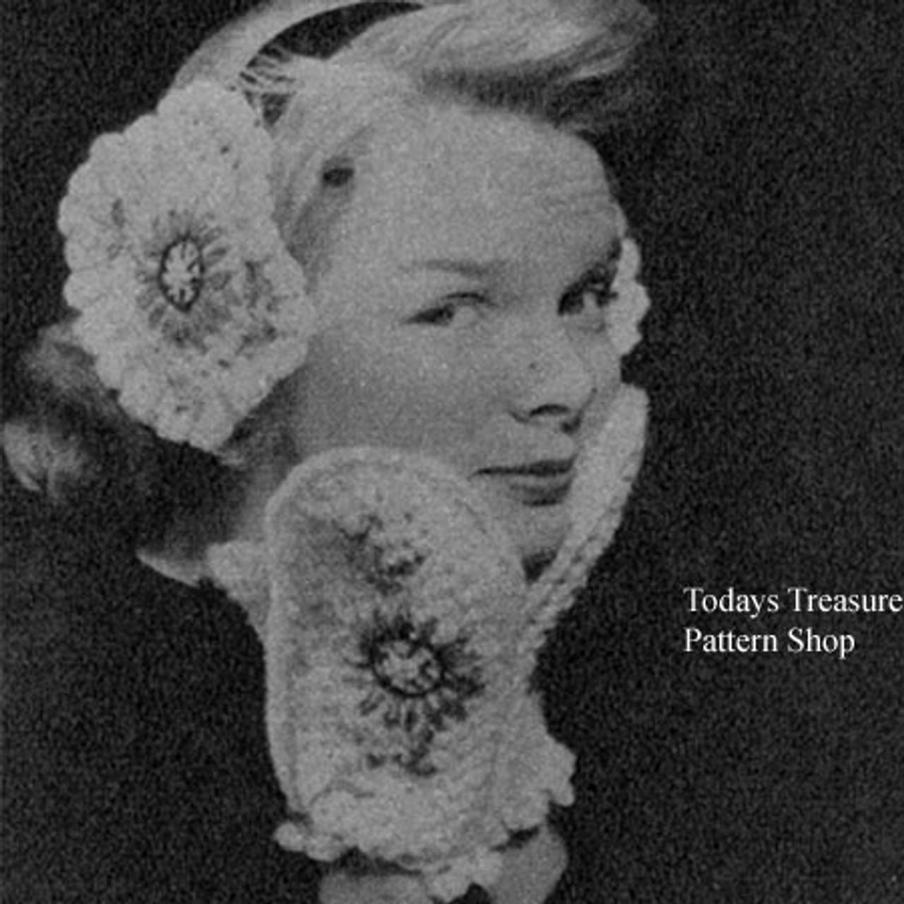 Crochet Flower Mittens and Muffs Pattern