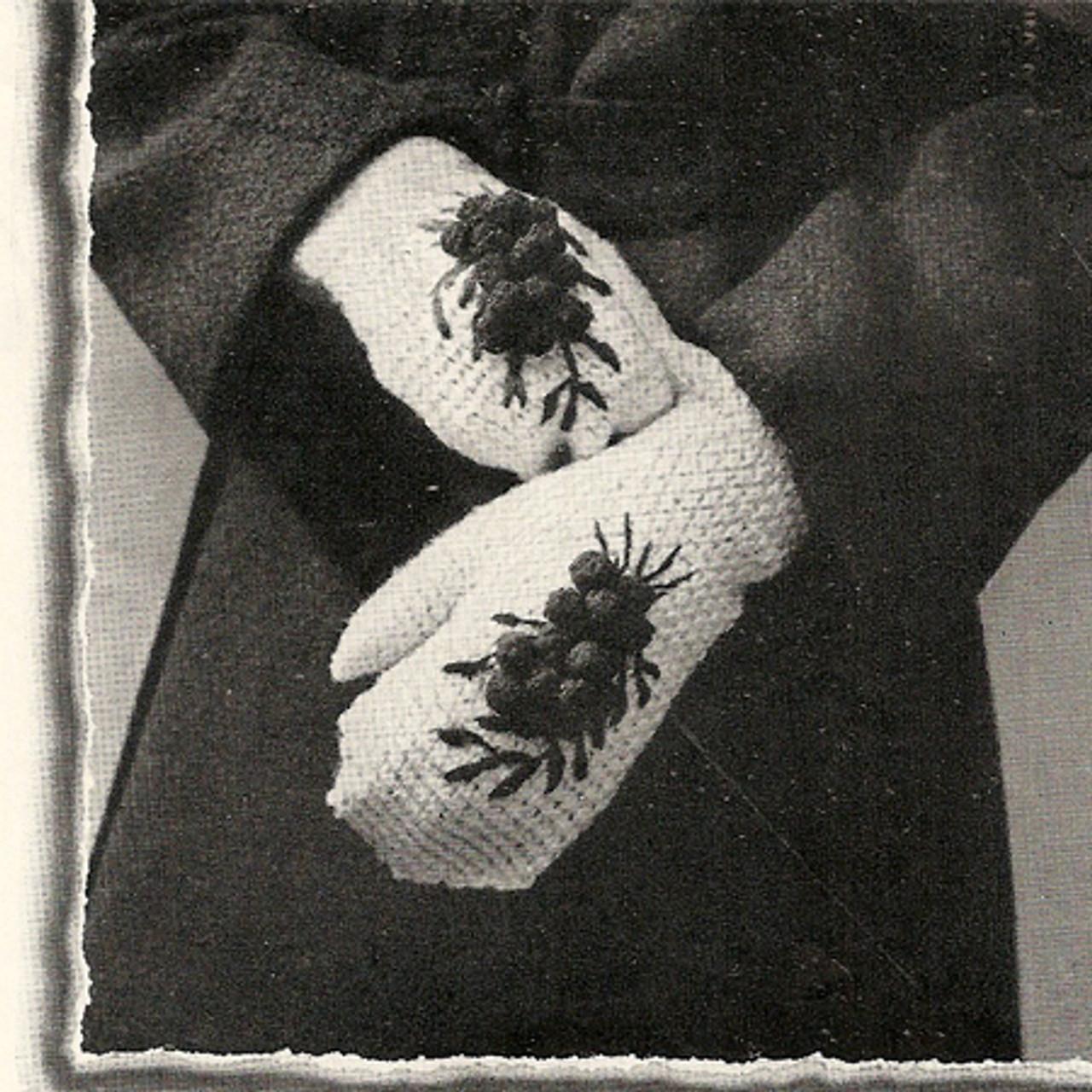 Crochet Mittens Pattern with Cherry Motif