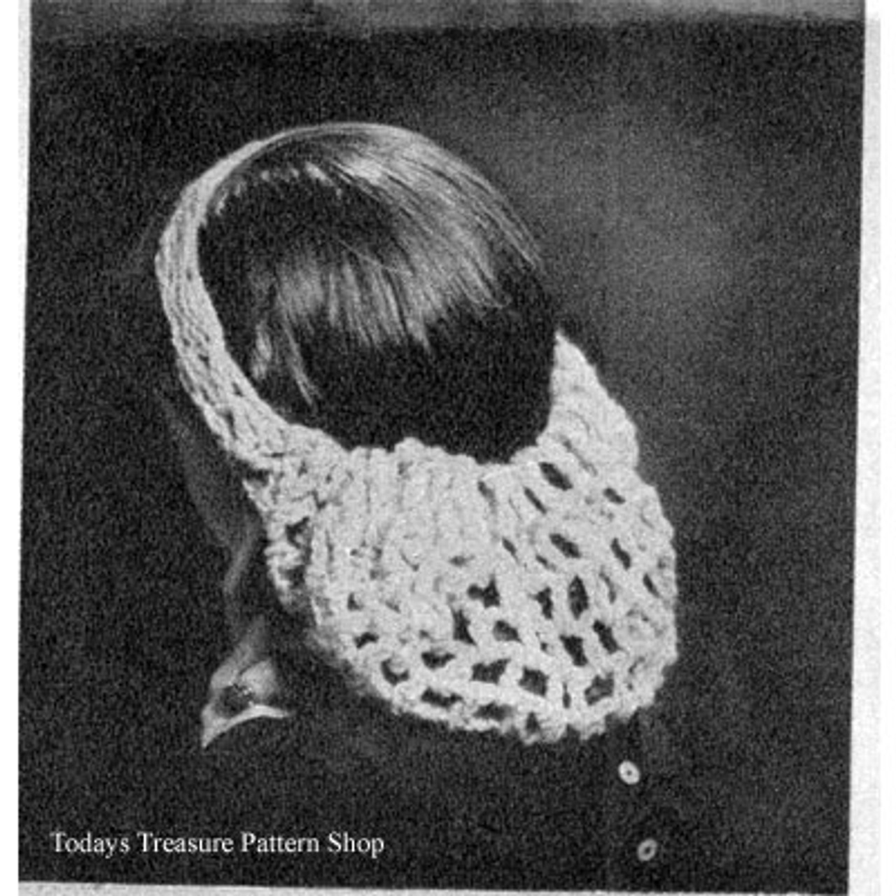 Crocheted Mesh Snood Pattern, Vintage 1950s