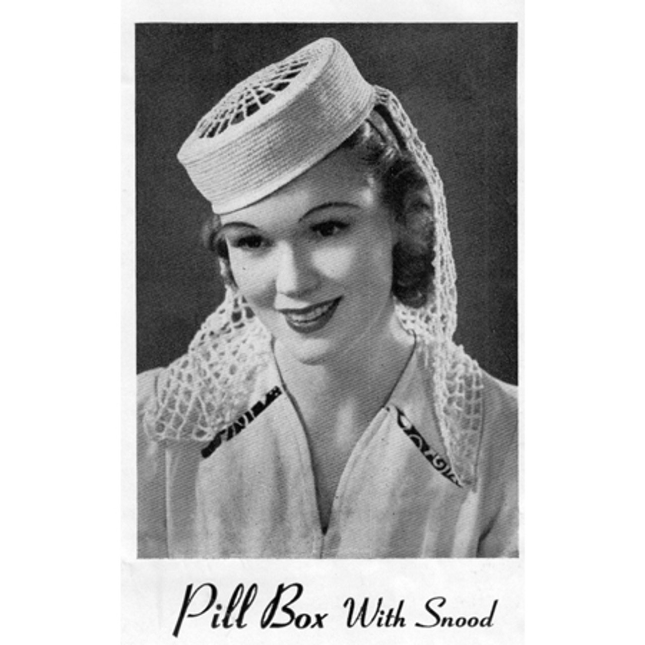 Crochet Snood Pillbox Hat, Vintage Pattern