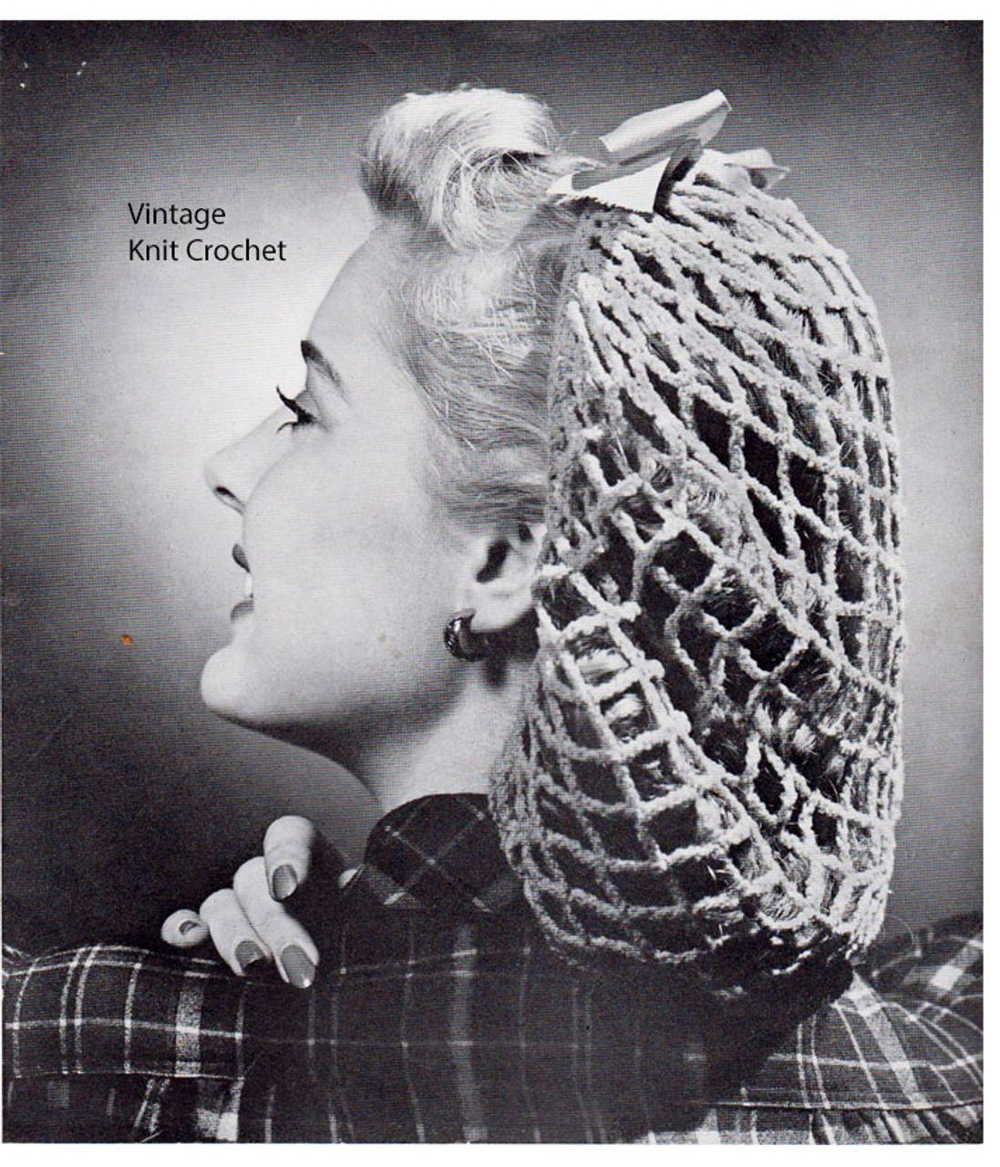 Crocheted Mesh Snood Pattern, Vintage 1942