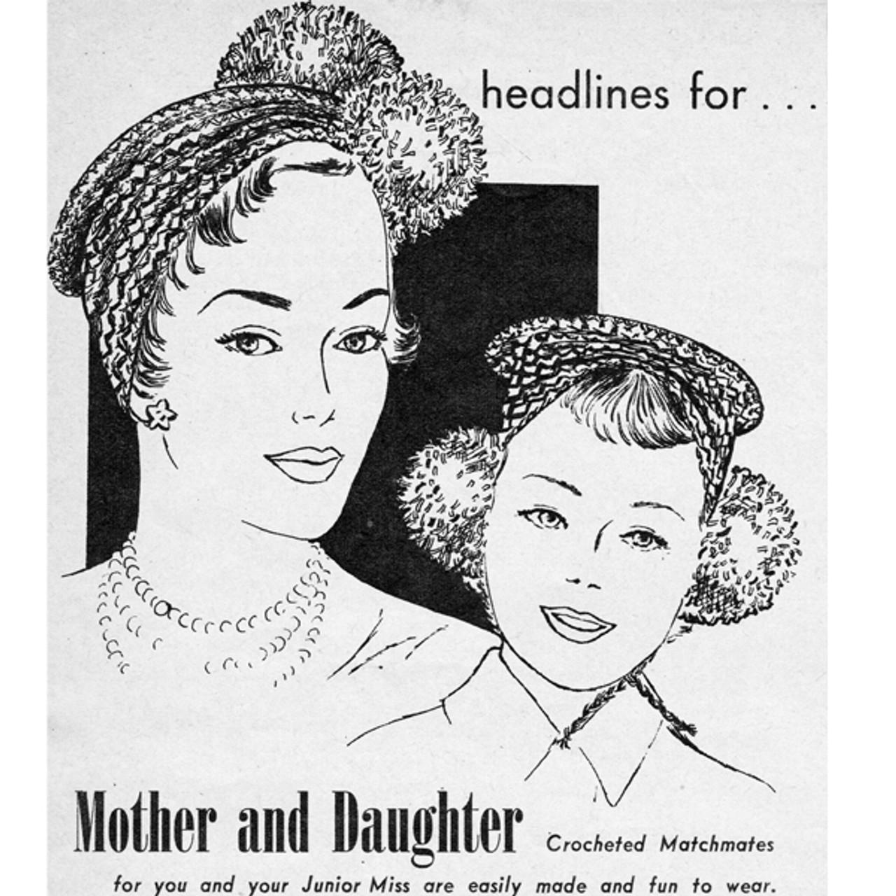 Crochet Pompom Caps Pattern Mother Daughter