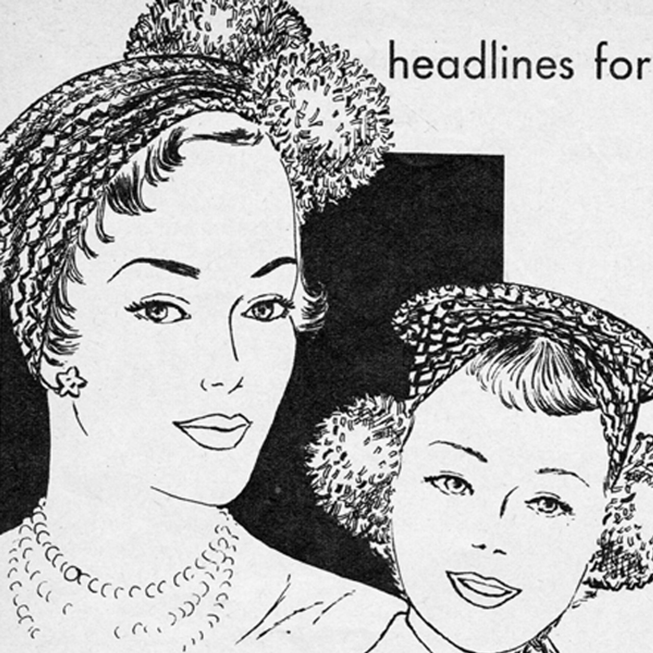 Girls Crochet Pompom Hats Pattern